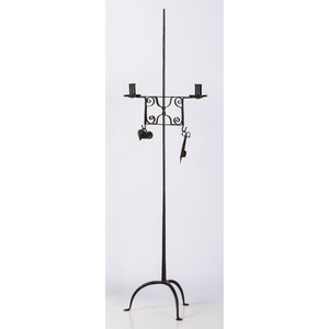 A Wrought Iron Adjustable Floor Candlestand
