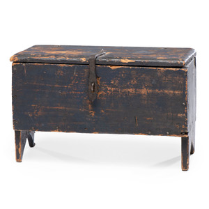 A Federal Iron-Mounted Blue-Painted Pine Miniature Blanket Chest