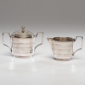 A Rare Kem Weber Sugar and Creamer, Silver Style Line
