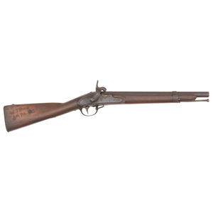US Model 1828 (M1816 Type III) Musket Shortened to Carbine with the Stock Carved W.J.Bure 3rd Rgt NC