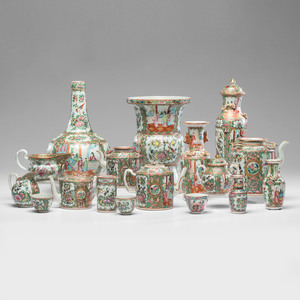 A Collection of Chinese Export Rose Medallion Porcelain Tablewares