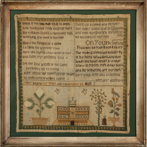 A Pictorial Embroidered Needlework Sampler
