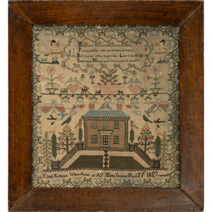 An English Pictorial Embroidered Needlework Sampler