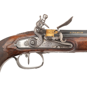 A Rare and Important Cased Set of French Empire Flintlock Pistols by Arlot of Paris ca 1800s