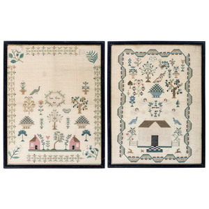 A Pair of Pictorial Embroidered Needlework Samplers