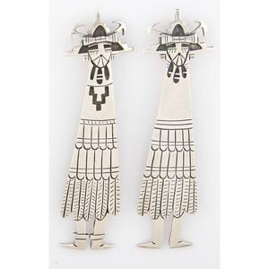 Patrick Lomawaima (Hopi, act. 1960's) Pair of Silver Shalako Pendants / Pins