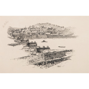 Harpers Ferry, From the Maryland Side, Original Pen and Ink Sketch by I. Walton Taber