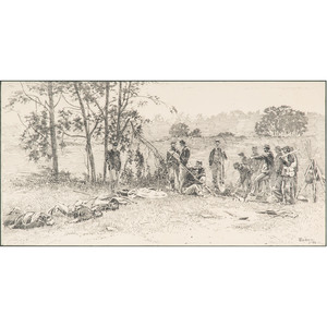 Burying the Dead, Antietam, Original Pen and Ink Sketch by I. Walton Taber