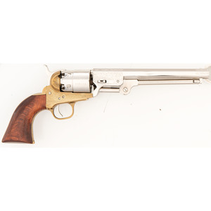 Engraved Reproduction Brass Frame Navy Revolver