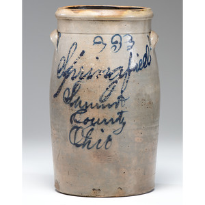 A Springfield, Ohio Three-Gallon Stoneware Crock