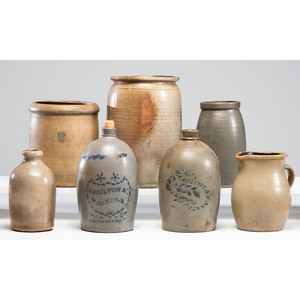 Seven Stoneware Vessels Including Two Greensboro Pieces