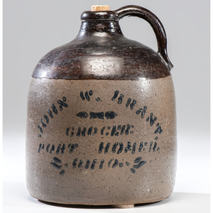 A Port Homer, Ohio Stoneware Grocer's Advertising Jug