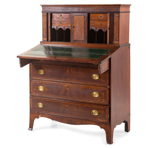 A Massachusetts Federal Inlaid and Figured Mahogany Lady's Tambour Writing Desk