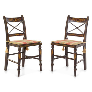 A Pair of Classical Grain-Paint and Stencil Decorated Cane-Upholstered Side Chairs