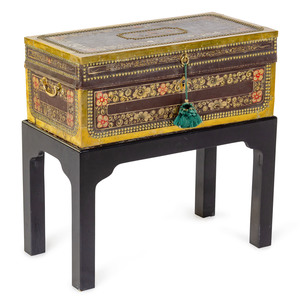 A Chinese Export Painted Leather and Studded Camphor Chest
