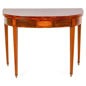A Massachusetts Federal Inlaid and Figured Mahogany Game Table