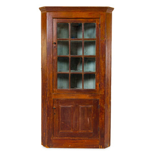 A Federal Painted Pine Corner Cabinet
