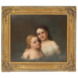 An American Portrait of Two Girls, 19th Century