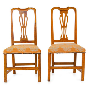 A Pair of Chippendale Carved Maple Side Chairs