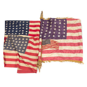 Nine Vintage American Flags with Poles