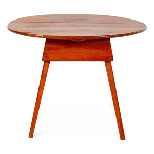 A Federal Pine Splayed Leg Oval-Top Tavern Table