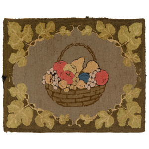 A Fruit Basket and Vine Decorated Hooked Rug