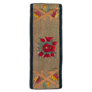 A Rose and Leaf Decorated Hooked Runner
