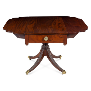 A Classical Carved and Figured Mahogany Breakfast Table, Attributed to Duncan Phyfe