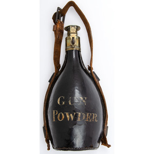 Scarce 18th Century Large English Leather Powder Flask Possibly Revolutionary War Period