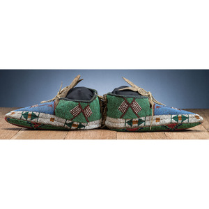A'aninin Fully Beaded Buffalo Hide Moccasins, with American Flags