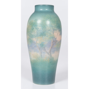 A Rookwood Pottery Scenic Vellum Vase, decorated by E.T. Hurley