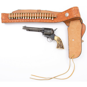 ** Great Western Arms Revolver and Tooled Leather Belt with Silver Conchos