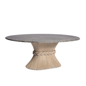 A McGuire Sheaf of Wheat Marble Top Dining Table