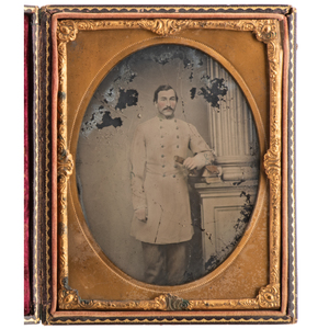Half Plate Ambrotype of Confederate Officer by C.R. Rees, Possibly Captain Dewitt Clinton Morgan, 3rd Louisiana Infantry, With Correspondence