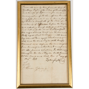 Kentucky Documents, Incl. 1793 Indenture and 1810 Bill of Slave Sale Issued by Zachary Taylor in Jessamine County