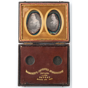 Mascher Stereodaguerreotype Case Containing Two Portraits of Young Woman, By Jacobs, New Orleans
