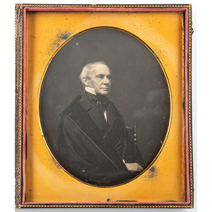 Exceptionally Clear Oversized Half Plate Daguerreotype of Distinguished Gentleman, Signed in Plate by Stanbury