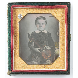 Sixth Plate Daguerreotype of Young Violinist, Housed in Green Variant of the Rare Flowers Case [Berg 5-104]