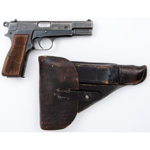 ** WWII German Browning Hi Power with Leather Holster
