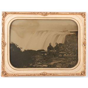 Whole Plate Tintype and Ambrotype of Visitors at Niagara Falls