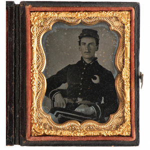 Ninth Plate Ruby Ambrotype of a New Orleans Rebel Wearing Crescent Insignia