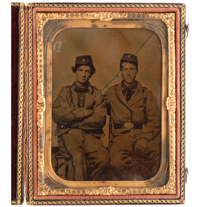 Quarter Plate Ambrotype of Confederate Pards from the Crescent Regiment, New Orleans, Incl. William H. Meeker, KIA Shiloh