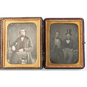 Two Half Plate Daguerreotypes of Gentlemen with Top Hats, One by Silas Holmes of New York City