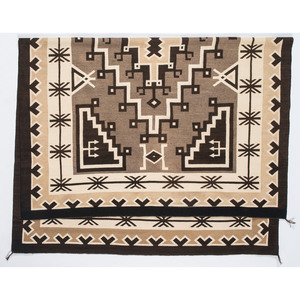 Legendary Master Weaver Bessie Manygoats (Dine, ca 1905-1953) Navajo Two Grey Hills Weaving / Rug, From the John Andrews Collection, Native Jackets