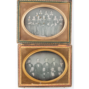 Four Daguerreotypes of Groups of Men, Women, and Chidren, Possibly Educators and Students