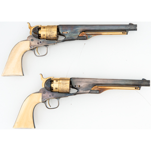 A Remarkable Double Cased Pair of Silver and Gilt Colt 1860 Army Revolvers with Raised Carved Mexican Snake and Eagle Ivory Grips