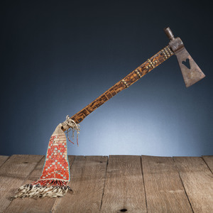 Western Plains Pipe Tomahawk with Quilled Hide Drop