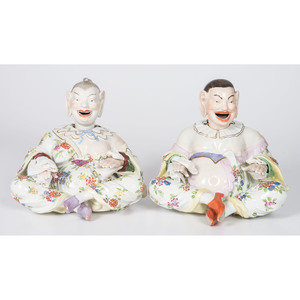 A Pair of Dresden Porcelain Chinese Nodders