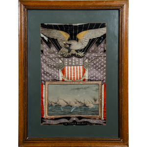 Spanish American War Souvenir Embroidery Recognizing Battle of Manila Bay