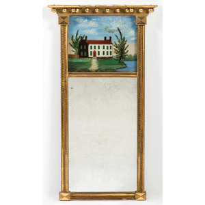 A Federal Gilt Mirror with Reverse-Painted Glass